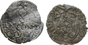obverse: Ancona. Anonime attribuite a Clemente VII, Giulio de Medici (sec.XVI). Quattrino. In aggiunta: quattrino di Gregorio XIII per Fano
