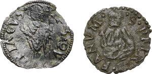 reverse: Ancona. Anonime attribuite a Clemente VII, Giulio de Medici (sec.XVI). Quattrino. In aggiunta: quattrino di Gregorio XIII per Fano