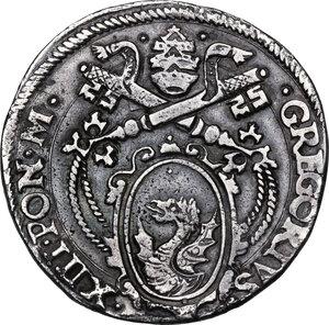 obverse: Ancona. Gregorio XIII (1572-1585), Ugo Boncompagni.Testone