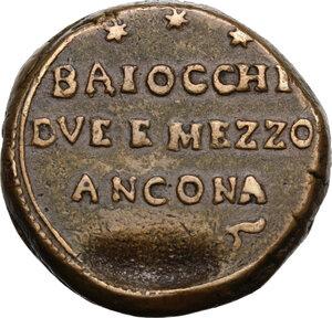 obverse: Ancona. Pio VI (1775-1799), Giovanni Angelo Braschi. Sanpietrino da 2 e mezzo baiocchi, 1796