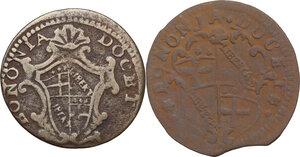obverse: Bologna. Clemente XII (1730-1740), Lorenzo Corsini.Lotto di due (2) monete da mezzo bolognino 1733 e 173(9)