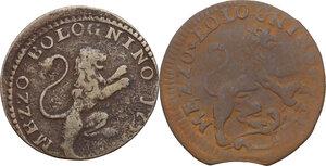 reverse: Bologna. Clemente XII (1730-1740), Lorenzo Corsini.Lotto di due (2) monete da mezzo bolognino 1733 e 173(9)