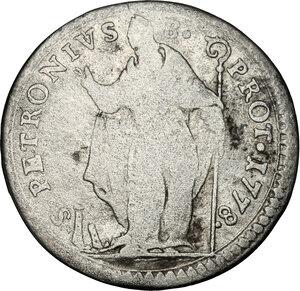 reverse: Bologna. Pio VI (1775-1799), Giovanni Angelo Braschi. Muraiola da 4 bolognini 1778
