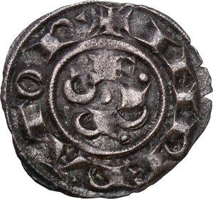 reverse: Ferrara. Repubblica a nome di Federico I Imperatore (1200?-1344).Denaro