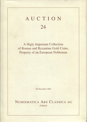 obverse: ARS CLASSICA AG. – Auction 24. Zurich, 5 – December, 2002. A higly important collection of roman coins and byzantine gold coins, property o fan European Nobleman. Pp. 199, nn. 452, tutti ill. a colori. ril. editoriale tela blu, buono stato, importante.