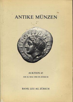obverse: BANK LEU AG. – Auction 45. Zurich, 26 – Mai, 1988. Antike munzen, kelten, griechen, romer, byzantiner.  Pp.84,  nn. 421,  tavv. 26 + 16 ingrandimenti. ril. ed. buono stato.