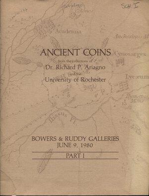 obverse: BOWERS & RUDDY GALLERY. – Los Angeles, 9 – June, 1980. Ancient coins I part. Collection Dr. RICHARD P. ARIAGNO, and the UNIVERSTY of  ROCHESTER. Pp. 77, nn. 579, tutti illustrati, + 2 tavv. a colori. ril. editoriale, buono stato, lista prezzi Val. Spring, 60.