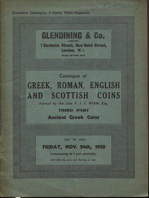 obverse: GLENDINING & CO. London, 24 – November, 1950. Ancient Greek coins  Third part collection  V. J. E. Ryan. Pp. 31, nn. 1378 – 1558f,  tavv. 6. Ril. editoriale, buono stato,  Spring, 219.