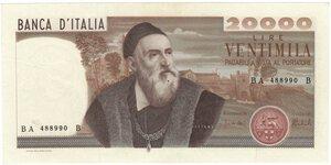 obverse: Banconote. Repubblica Italiana. 20.000 Lire Tiziano. D.M. 21-02-1975.