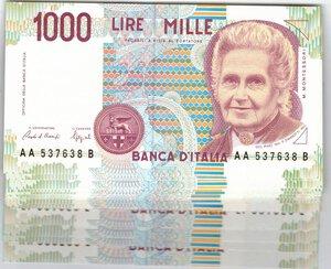obverse: Banconote. Repubblica Italiana. 1.000 Lire Montessori. Lotto di 31 pezzi. Sono presenti tutte le emissioni tranne la