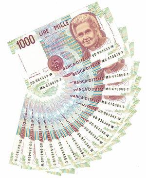 obverse: Banconote. Repubblica Italiana. Lotto di 17 Pezzi da 1.000 Lire Montessori.