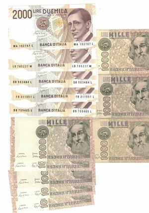 reverse: Banconote. Repubblica Italiana. Lotto di 32 pezzi da 1000 e 2000 lire. Vari Anni.