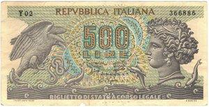 obverse: Banconote. Repubblica Italiana. 500 Lire Aretusa. Falso D epoca con Annullo.