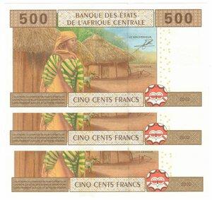 reverse: Banconote. Stati Africa Centrale. 500 Franchi 2002. Lotto di 3 pezzi consecutivi.