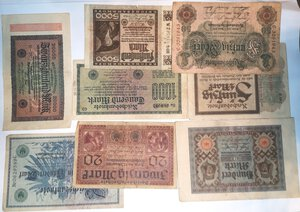 reverse: Banconote. Germania. Lotto di 23 pezzi di Reichmark, vari nominali.