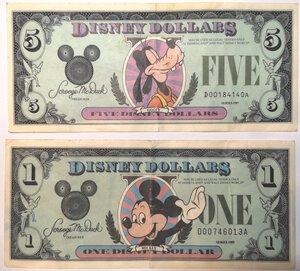 obverse: Banconote. Emissione Privata. Disney. 5 Dollari 1987  e Dollaro 1988.