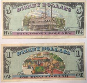 reverse: Banconote. Emissione Privata. Disney. 5 Dollari 1987  e Dollaro 1988.