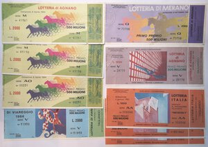 obverse: Banconote. Lotto di 21 pezzi, Biglietti della lotteria Italia, di Agnano e Viareggio.
