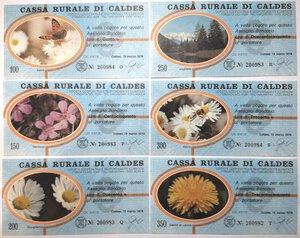 obverse: Miniassegni. Cassa Rurale di Caldes. 2 Serie complete da 6 pezzi e da 3 pezzi. Totale 9 pezzi.