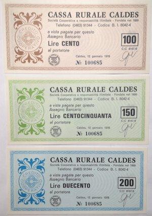 reverse: Miniassegni. Cassa Rurale di Caldes. 2 Serie complete da 6 pezzi e da 3 pezzi. Totale 9 pezzi.