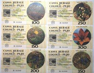 obverse: Miniassegni. Cassa Rurale di Cogolo - Pejo e Cassa Rurale di Tesero. 2 Serie complete da 6 pezzi da 100, 150, 200, 250, 300 e 350 Lire. Totale 12 pezzi.