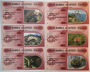 obverse: Miniassegni. Cassa Rurale di Levico. 2 Serie complete da 6 pezzi da 100, 150, 200, 250, 300 e 350 Lire. Totale 12 pezzi. Prova di stampa.