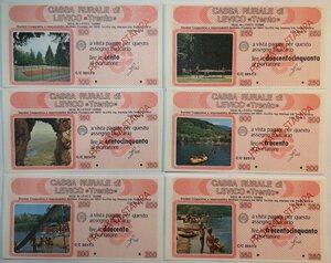 reverse: Miniassegni. Cassa Rurale di Levico. 2 Serie complete da 6 pezzi da 100, 150, 200, 250, 300 e 350 Lire. Totale 12 pezzi. Prova di stampa.