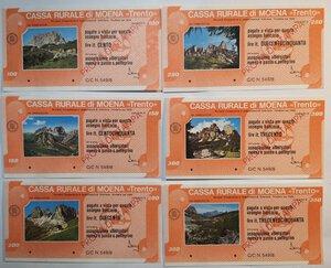 obverse: Miniassegni. Cassa Rurale di Moena. 2 Serie complete da 6 pezzi da 100, 150, 200, 250, 300 e 350 Lire. Totale 12 pezzi. Prova di stampa.