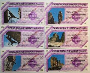 reverse: Miniassegni. Cassa Rurale di Moena. 2 Serie complete da 6 pezzi da 100, 150, 200, 250, 300 e 350 Lire. Totale 12 pezzi. Prova di stampa.