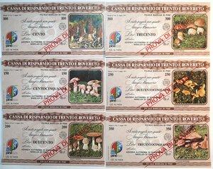 obverse: Miniassegni. Cassa Rurale di Trento e Rovereto. 2 Serie complete da 6 pezzi da 100, 150, 200, 250, 300 e 350 Lire. Totale 12 pezzi. Prova di stampa e Specimen.