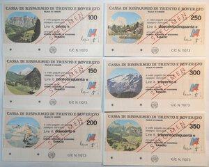 reverse: Miniassegni. Cassa Rurale di Trento e Rovereto. 2 Serie complete da 6 pezzi da 100, 150, 200, 250, 300 e 350 Lire. Totale 12 pezzi. Prova di stampa e Specimen.