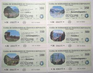 reverse: Miniassegni. Cassa Rurale di Trento e Rovereto e Cassa Rurale di Panchià. 2 Serie complete da 6 pezzi. Totale 12 pezzi.