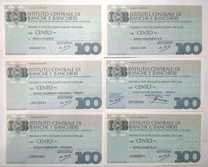 obverse: Miniassegni. Istituto Centrale di Banche e Banchieri. Lotto di 12 pezzi diversi da 100 Lire.