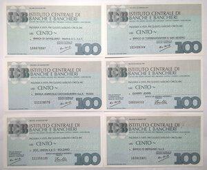 reverse: Miniassegni. Istituto Centrale di Banche e Banchieri. Lotto di 12 pezzi diversi da 100 Lire.