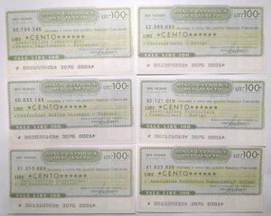 obverse: Miniassegni. Banca Cattolica del Veneto. Lotto di 12 pezzi diversi da 100 Lire.