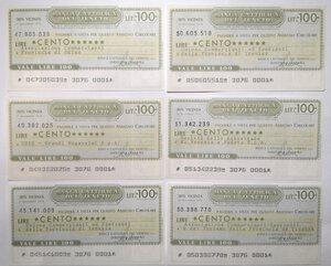 reverse: Miniassegni. Banca Cattolica del Veneto. Lotto di 12 pezzi diversi da 100 Lire.