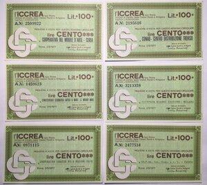 obverse: Miniassegni. ICCREA Istituto di Credito delle Casse Rurali e Artigiane Spa. Lotto di 12 pezzi diversi da 100 Lire.