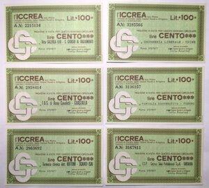 reverse: Miniassegni. ICCREA Istituto di Credito delle Casse Rurali e Artigiane Spa. Lotto di 12 pezzi diversi da 100 Lire.