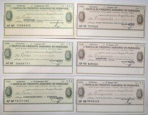 obverse: Miniassegni. Banca di Credito Agrario di Ferrara. Lotto di 12 pezzi diversi da 50, 100, 150 e 200 Lire.