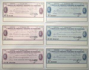 reverse: Miniassegni. Banca di Credito Agrario di Ferrara. Lotto di 12 pezzi diversi da 50, 100, 150 e 200 Lire.