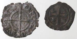 obverse: Brindisi. Lotto di due monete. Federico II. Denaro con testa di fronte. Sp. 121. e Carlo I D Angiò. Denaro con KAR e doppio omega. Sp. 50. Mi.