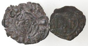 reverse: Brindisi. Lotto di due monete. Federico II. Denaro con testa di fronte. Sp. 121. e Carlo I D Angiò. Denaro con KAR e doppio omega. Sp. 50. Mi.