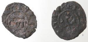 reverse: Brindisi. Lotto di 2 monete. Corrado II. 1254-1258. Denaro con C tra crescenti. Sp. 178. Denaro con CVR. Sp. 173. Mi.