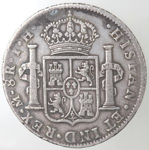 reverse: Messico. Messico City. Carlo IIII. 1788-1808. 8 Reales 1808 T H. Ag.