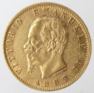 obverse: Vittorio Emanuele II. 1861-1878. 20 Lire 1863 Torino. Au.