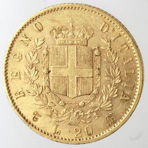 reverse: Vittorio Emanuele II. 1861-1878. 20 Lire 1863 Torino. Au.
