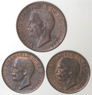 obverse: Vittorio Emanuele III. 1900-1943.Lotto di 3 monete. 10 Centesimi Ape 1920. 5 Centesimi Spiga 1921 e 1922. Ae.