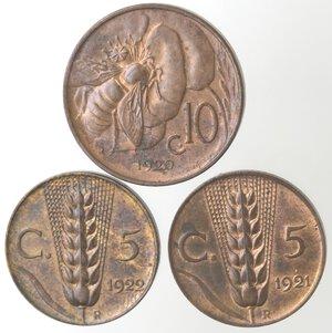 reverse: Vittorio Emanuele III. 1900-1943.Lotto di 3 monete. 10 Centesimi Ape 1920. 5 Centesimi Spiga 1921 e 1922. Ae.