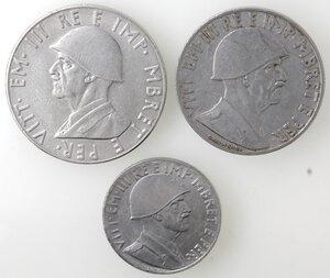 obverse: Vittorio Emanuele III. 1900-1943.Lotto di 3 monete. 2 lek 1939. 1 lek 1939 e 0,20 lek 1941. Ac.