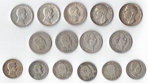 obverse: Casa Savoia. Lotto di 15 monete In Argento. 3 monete da 10 Lire, 6 monete da 2 Lire e 6 monete da 1 Lira.